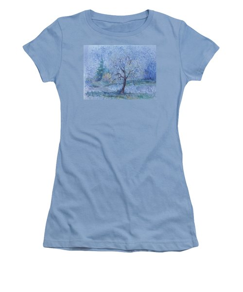 Women's T-Shirt (Junior Cut) featuring the painting Begining Of Another Winter by Anna  Duyunova