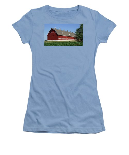 Big Red Barn In Spring Women's T-Shirt (Athletic Fit)