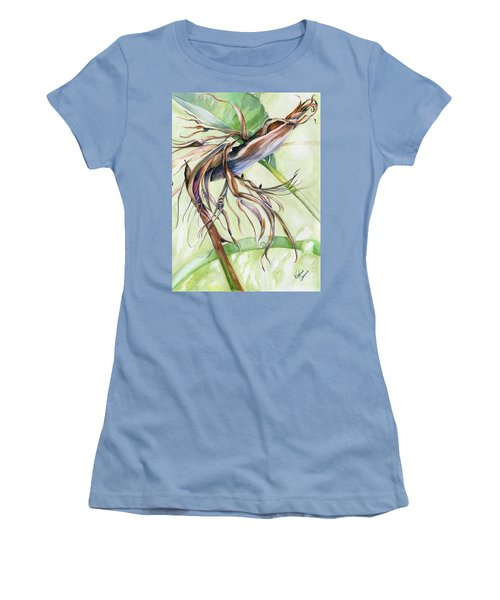 Women's T-Shirt (Junior Cut) featuring the painting Bird Of Paradise, A Faded Beauty by Nadine Dennis