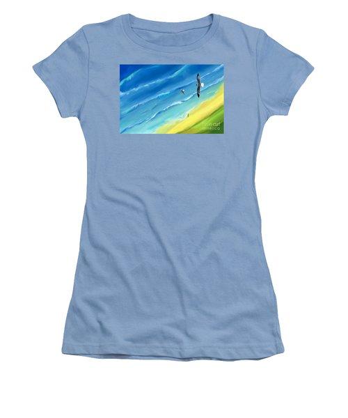 Bird's-eye Above Sea Women's T-Shirt (Athletic Fit)