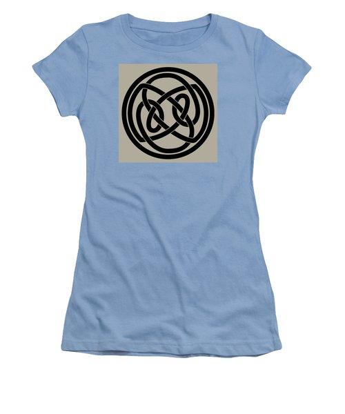 Women's T-Shirt (Junior Cut) featuring the digital art Black Celtic Knot by Jane McIlroy