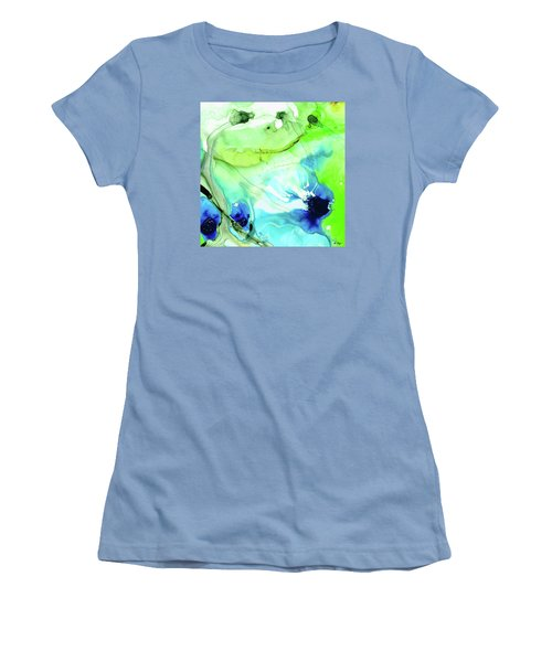 Women's T-Shirt (Athletic Fit) featuring the painting Blue And Green Abstract - Land And Sea - Sharon Cummings by Sharon Cummings