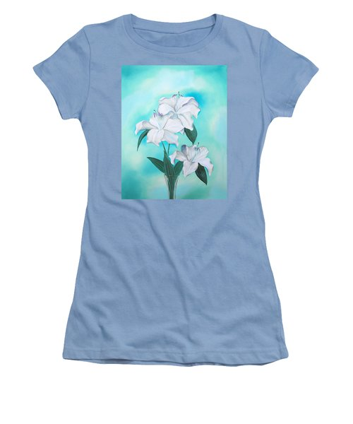 Women's T-Shirt (Athletic Fit) featuring the mixed media Blue And White by Elizabeth Lock