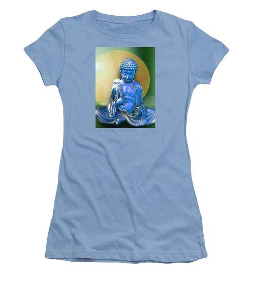 Blue Buddha Figurine Women's T-Shirt (Junior Cut) by Ginny Schmidt