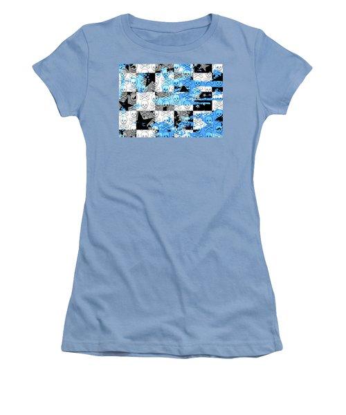 Blue Checker Skull Splatter Women's T-Shirt (Junior Cut) by Roseanne Jones