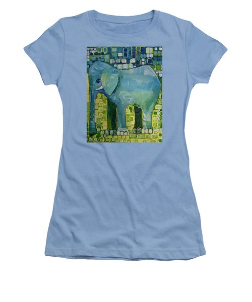 Women's T-Shirt (Junior Cut) featuring the painting Blue Elephant by Donna Howard