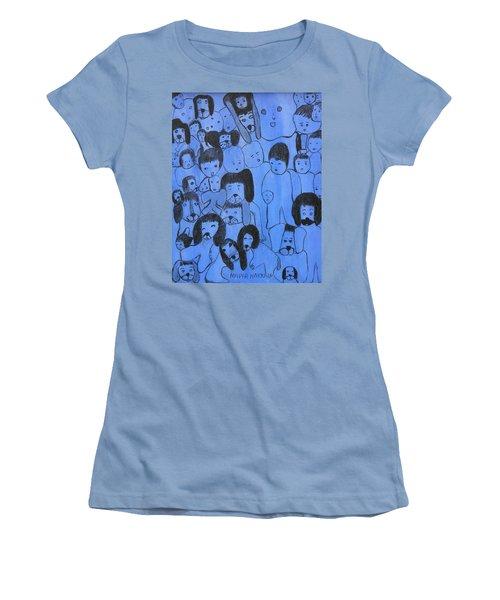 Blue Faces Women's T-Shirt (Athletic Fit)