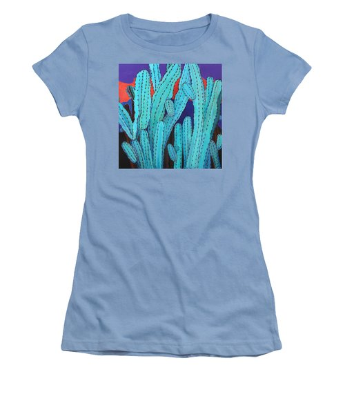 Women's T-Shirt (Junior Cut) featuring the painting Blue Flame Cactus Acrylic by M Diane Bonaparte