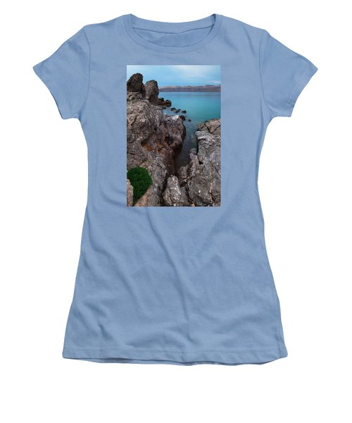 Blue, Green, Gray Women's T-Shirt (Athletic Fit)