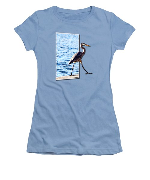Blue Heron Strutting Out Of Frame Women's T-Shirt (Junior Cut) by Roger Wedegis