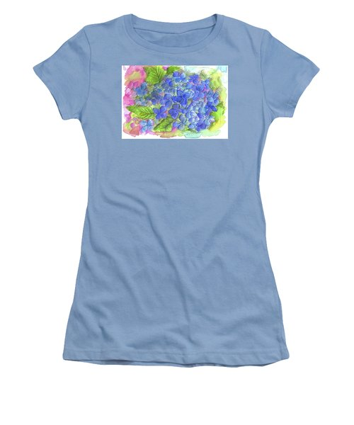 Women's T-Shirt (Junior Cut) featuring the painting Blue Hydrangea by Cathie Richardson