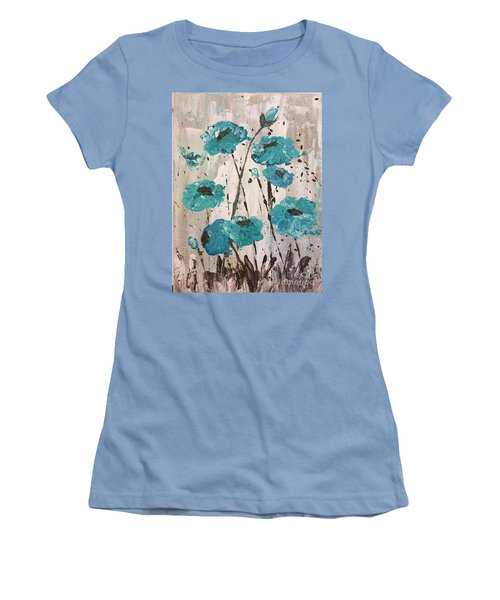 Blue Poppies Women's T-Shirt (Junior Cut) by Lucia Grilletto