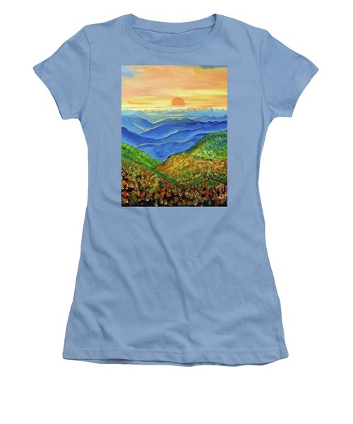 Blue Ridge Mountain Morn Women's T-Shirt (Junior Cut) by Ecinja Art Works