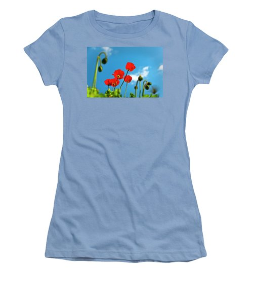 Women's T-Shirt (Junior Cut) featuring the photograph Blue Sky And Poppies by Tamyra Ayles
