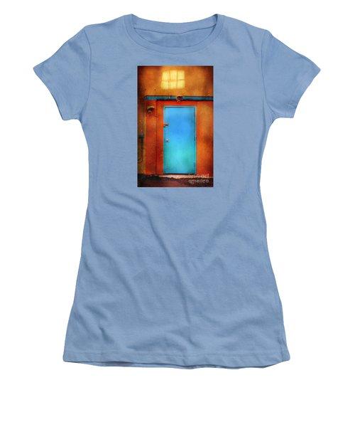 Blue Taos Door Women's T-Shirt (Junior Cut) by Craig J Satterlee