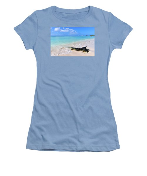 Blue Water And White Sand Women's T-Shirt (Athletic Fit)