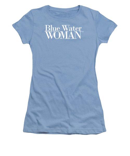 Blue Water Woman White Logo Women's T-Shirt (Athletic Fit)