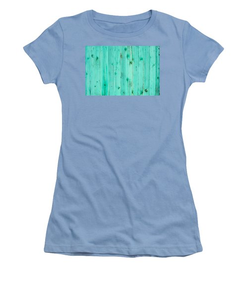 Women's T-Shirt (Junior Cut) featuring the photograph Blue Wooden Planks by John Williams