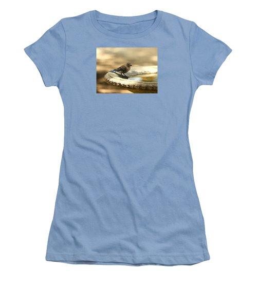 Women's T-Shirt (Junior Cut) featuring the photograph Bluebird Bath Time by Sheila Brown