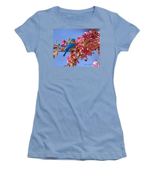 Bluebird In Apple Blossoms Women's T-Shirt (Junior Cut) by Marie Hicks