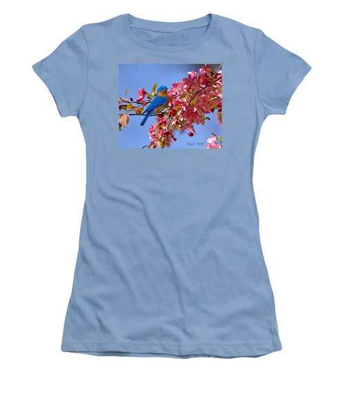 Bluebird In Apple Blossoms Women's T-Shirt (Athletic Fit)