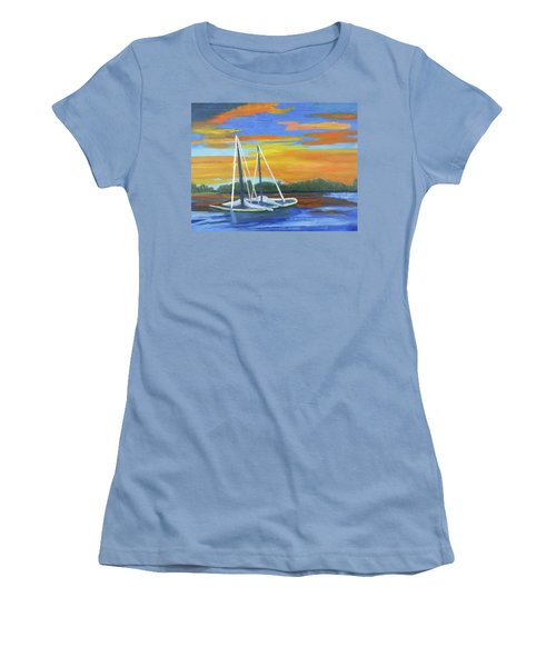 Boat Adrift Women's T-Shirt (Junior Cut) by Margaret Harmon