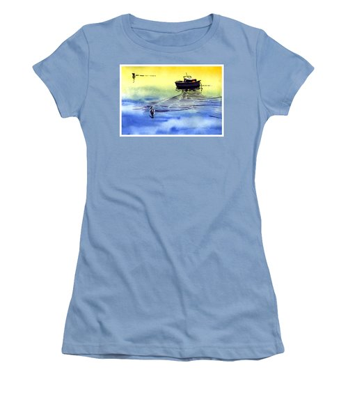 Boat And The Seagull Women's T-Shirt (Junior Cut) by Anil Nene