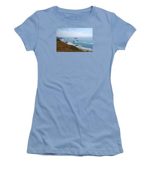 Bodega Bay Arched Rock Women's T-Shirt (Junior Cut) by Debra Thompson