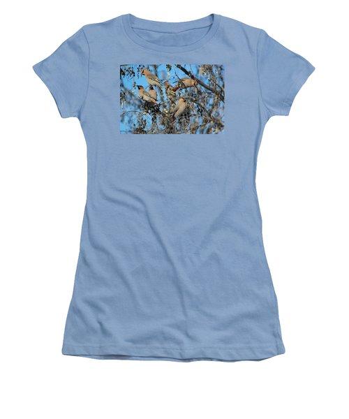 Women's T-Shirt (Junior Cut) featuring the photograph Bohemian Waxwings by Kathy Bassett