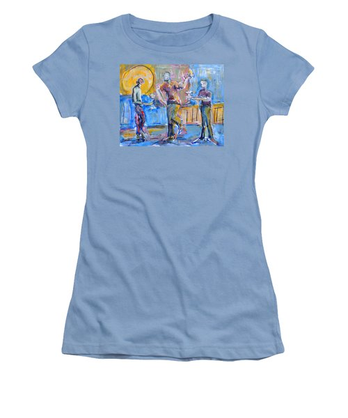 Women's T-Shirt (Junior Cut) featuring the painting Boys Night Out by Mary Schiros
