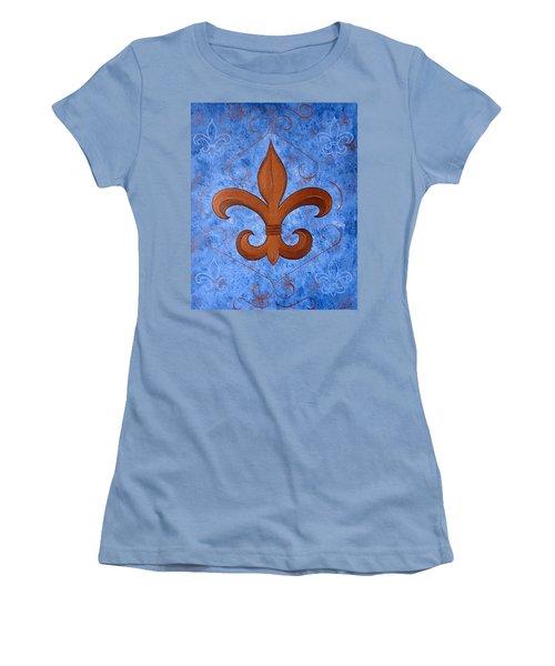 Bronze Fleur De Lis Women's T-Shirt (Athletic Fit)