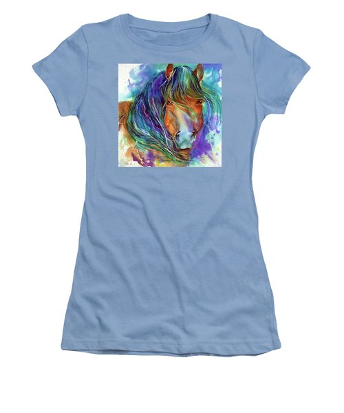 Bucky The Mustang In Watercolor Women's T-Shirt (Athletic Fit)