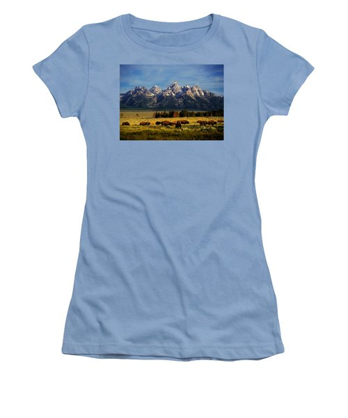 Buffalo Under Tetons Women's T-Shirt (Athletic Fit)