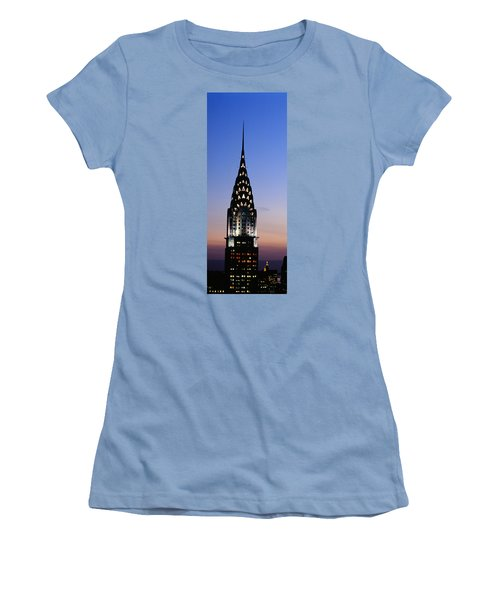 Building Lit Up At Twilight, Chrysler Women's T-Shirt (Junior Cut) by Panoramic Images