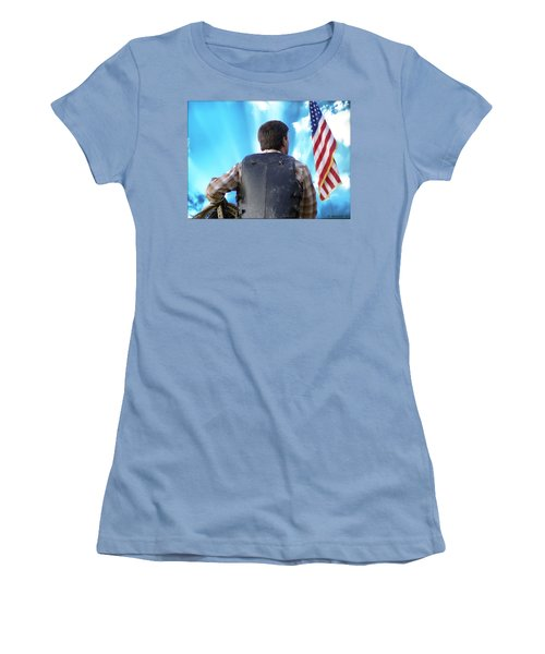 Women's T-Shirt (Junior Cut) featuring the photograph Bull Rider by Brian Wallace