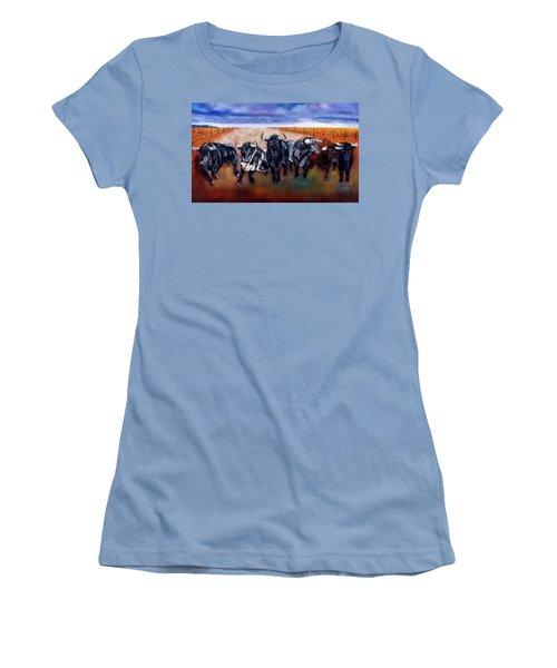 Bull Stampede Women's T-Shirt (Junior Cut) by Manuel Sanchez