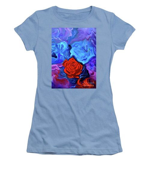 Bursting Rose Women's T-Shirt (Junior Cut) by Jenny Lee