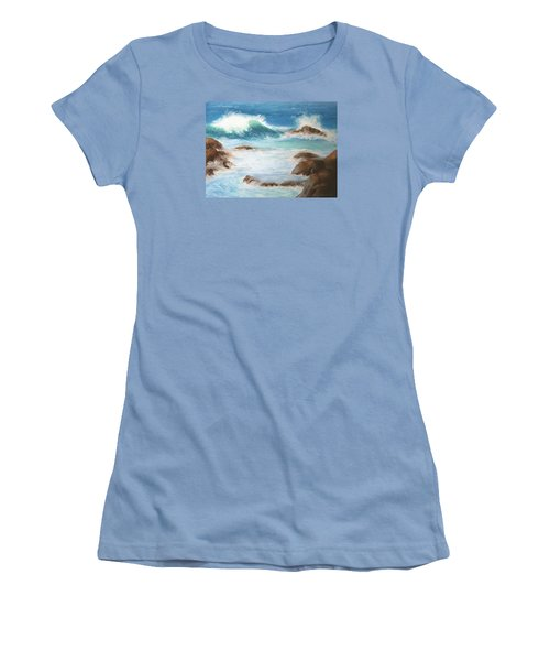 Women's T-Shirt (Junior Cut) featuring the pastel By The Sea by Marna Edwards Flavell