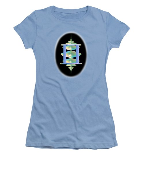 Cameo Abstract In Aqua Women's T-Shirt (Junior Cut) by Linda Phelps