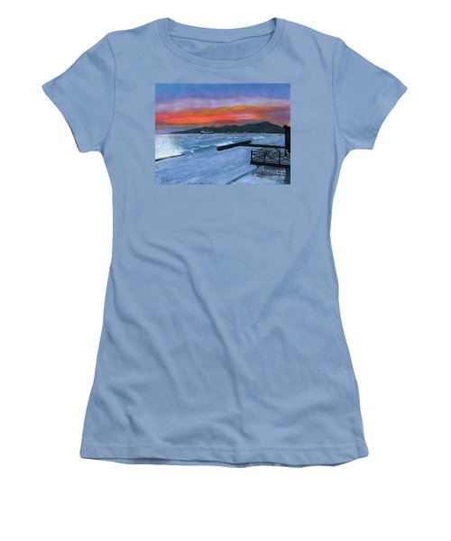 Women's T-Shirt (Junior Cut) featuring the painting Candidasa Sunset Bali Indonesia by Melly Terpening