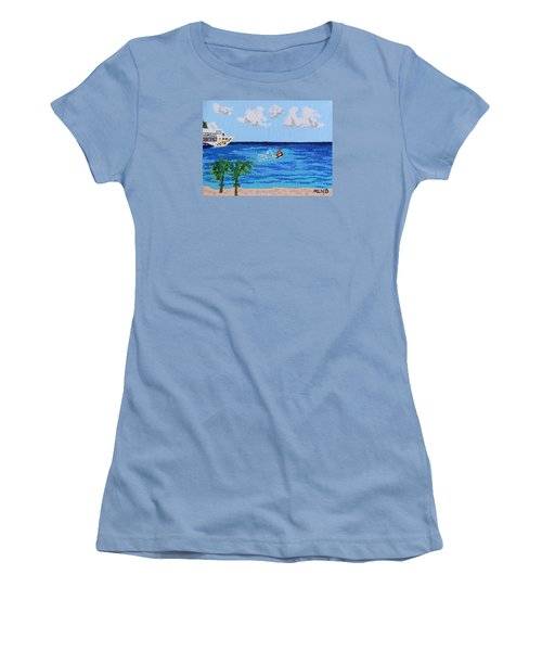 Caribbean Jet Ski Women's T-Shirt (Junior Cut) by Margaret Brooks