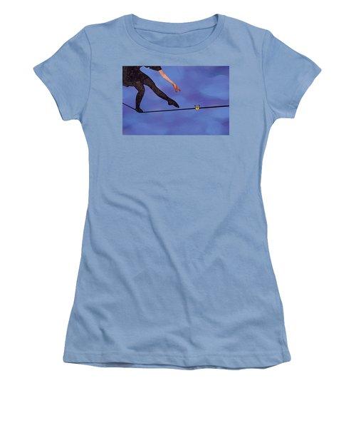 Women's T-Shirt (Junior Cut) featuring the painting Catching Butterflies by Steve Karol