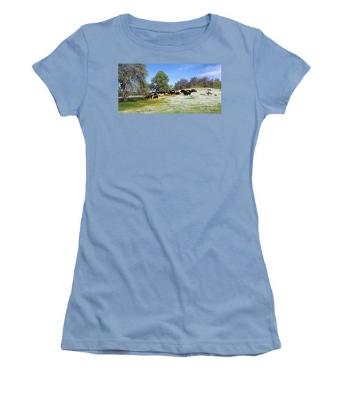Cattle N Flowers Women's T-Shirt (Athletic Fit)