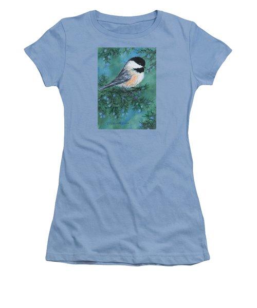 Women's T-Shirt (Junior Cut) featuring the painting Cedar Chickadee 1 by Kathleen McDermott