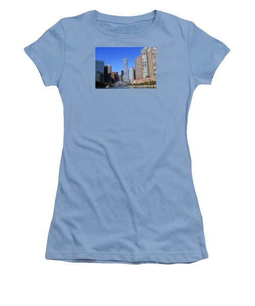 Women's T-Shirt (Junior Cut) featuring the photograph Chicago River by Milena Ilieva