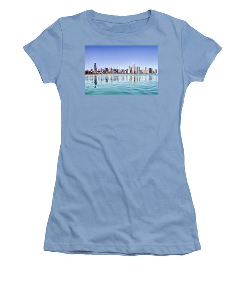 Women's T-Shirt (Junior Cut) featuring the photograph Chicago Skyline Reflecting In Lake Michigan by Peter Ciro