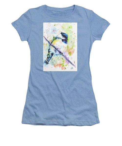 Women's T-Shirt (Athletic Fit) featuring the painting Chick-a-dee-dee-dee by Zaira Dzhaubaeva