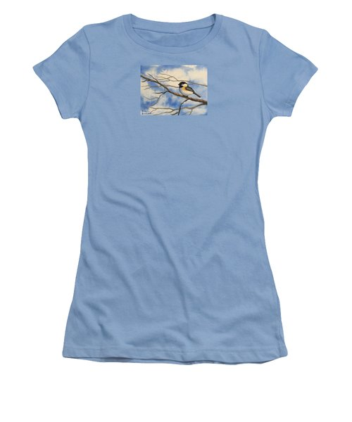Chickadee On Branch Women's T-Shirt (Athletic Fit)
