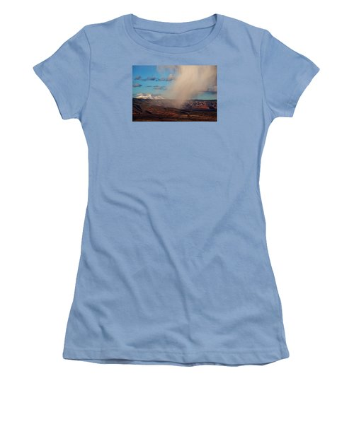 Christmas Day Snow Mix San Francisco Peaks Women's T-Shirt (Junior Cut) by Ron Chilston