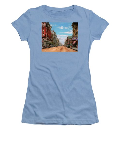 Women's T-Shirt (Junior Cut) featuring the photograph City - Memphis Tn - Main Street Mall 1909 by Mike Savad